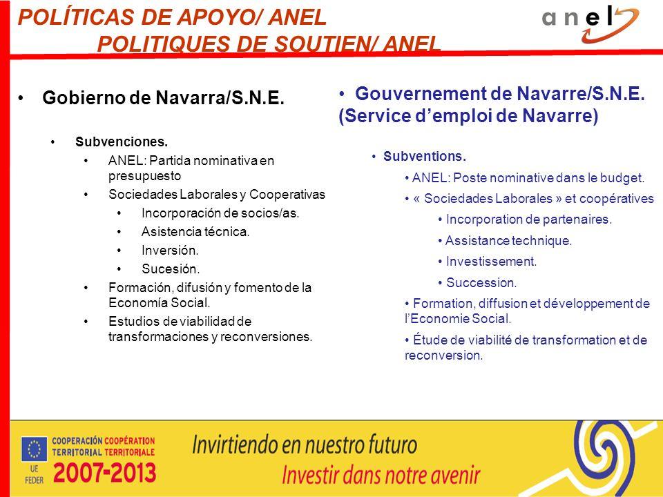 POLÍTICAS DE APOYO/ ANEL POLITIQUES DE SOUTIEN/ ANEL Gobierno de Navarra/S.N.E. Subvenciones. ANEL: Partida nominativa en presupuesto Sociedades Labor