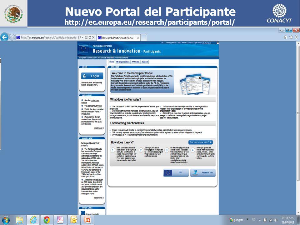 CONACYT EUROPEAN COMMISSION 14 Nuevo Portal del Participante http://ec.europa.eu/research/participants/portal/