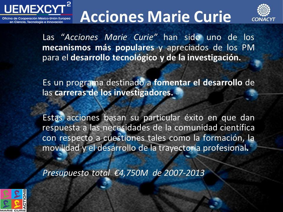 CONACYT EUROPEAN COMMISSION Acciones Marie Curie Las Acciones Marie Curie han sido uno de los mecanismos más populares y apreciados de los PM para el