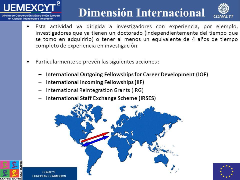 CONACYT EUROPEAN COMMISSION Dimensión Internacional Esta actividad va dirigida a investigadores con experiencia, por ejemplo, investigadores que ya ti