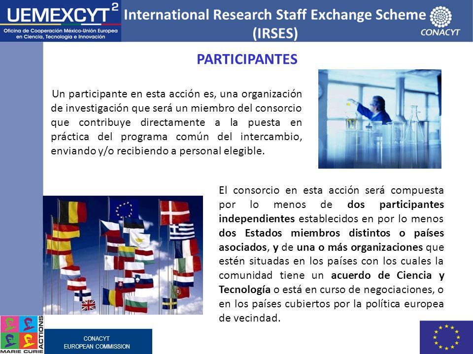CONACYT EUROPEAN COMMISSION Un participante en esta acción es, una organización de investigación que será un miembro del consorcio que contribuye dire