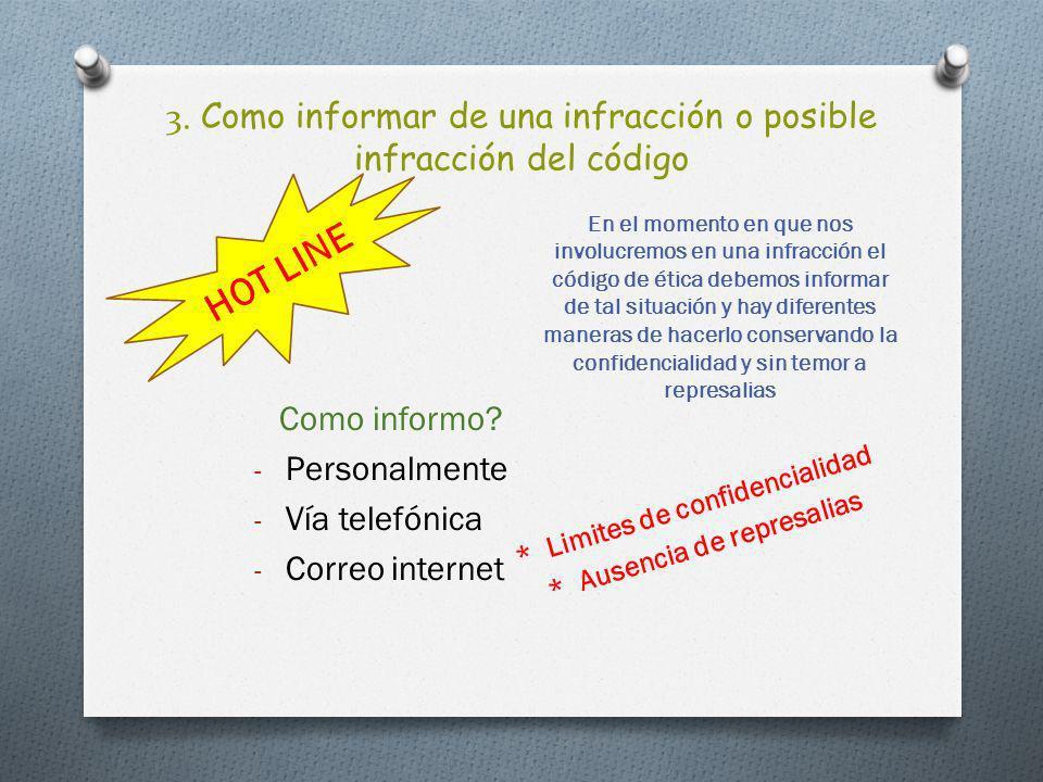 3. Como informar de una infracción o posible infracción del código * Limites de confidencialidad * Ausencia de represalias En el momento en que nos in