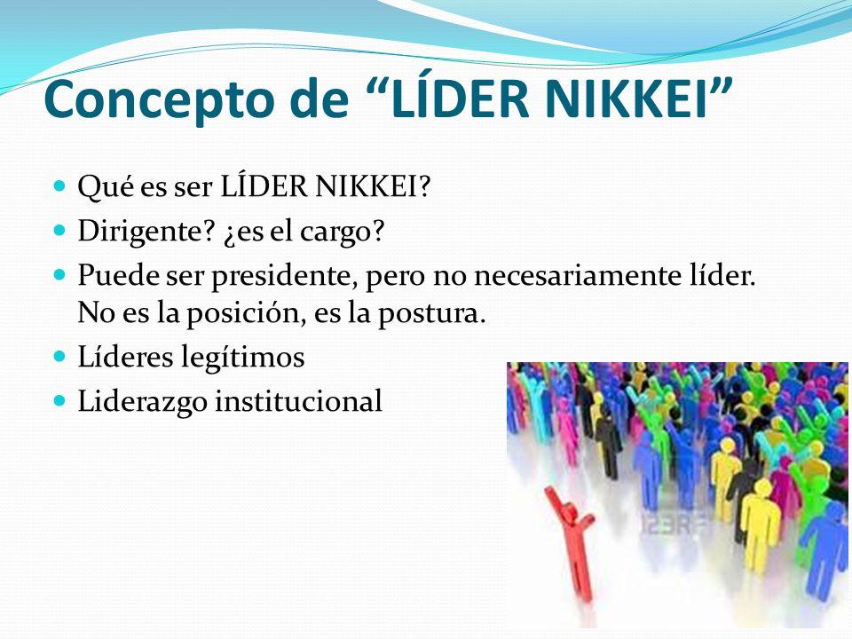 Concepto de LÍDER NIKKEI Qué es ser LÍDER NIKKEI? Dirigente? ¿es el cargo? Puede ser presidente, pero no necesariamente líder. No es la posición, es l