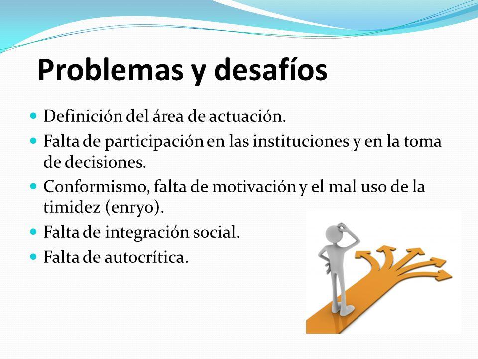 Problemas y desafíos Definición del área de actuación. Falta de participación en las instituciones y en la toma de decisiones. Conformismo, falta de m