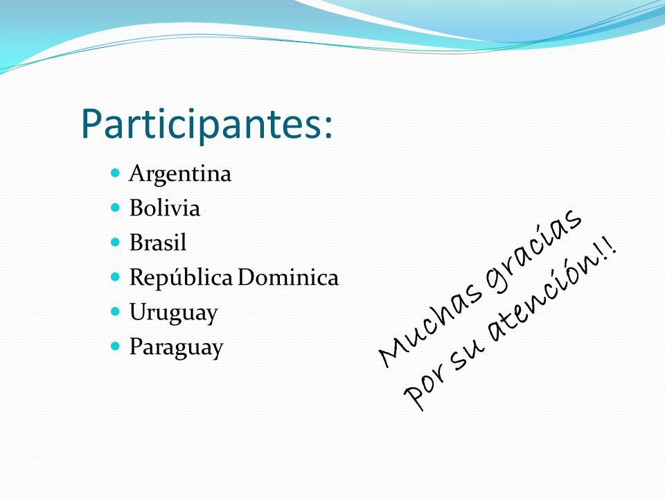 Participantes: Argentina Bolivia Brasil República Dominica Uruguay Paraguay Muchas gracias por su atención!!