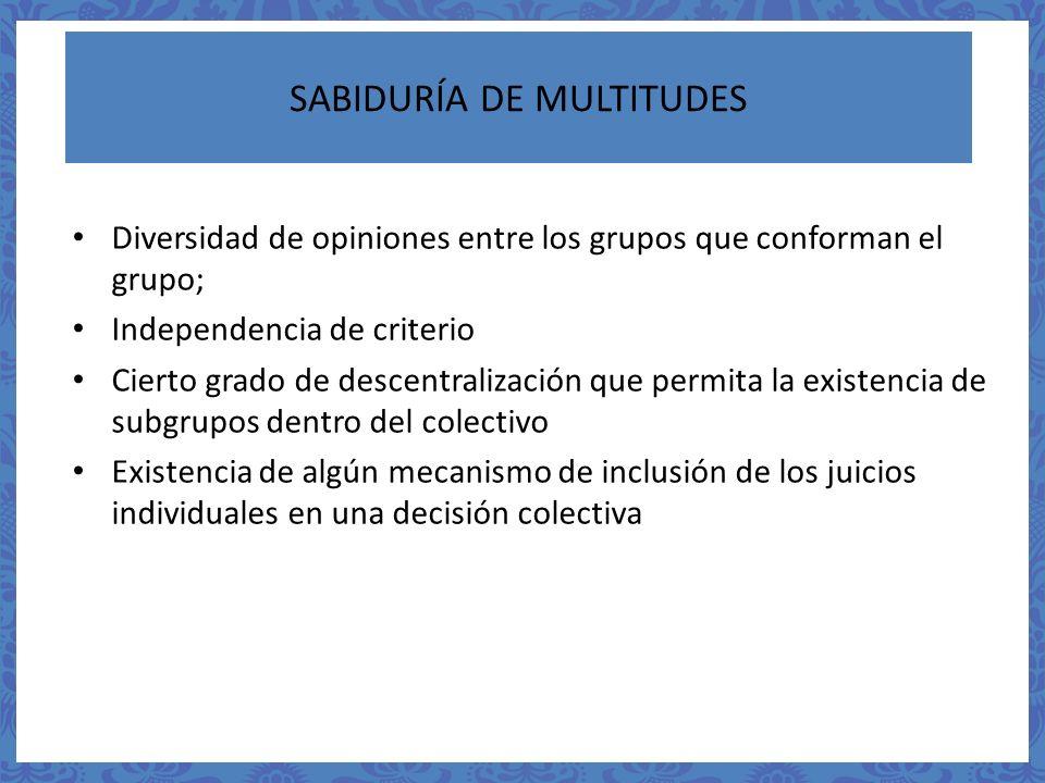 SABIDURÍA DE MULTITUDES Diversidad de opiniones entre los grupos que conforman el grupo; Independencia de criterio Cierto grado de descentralización q