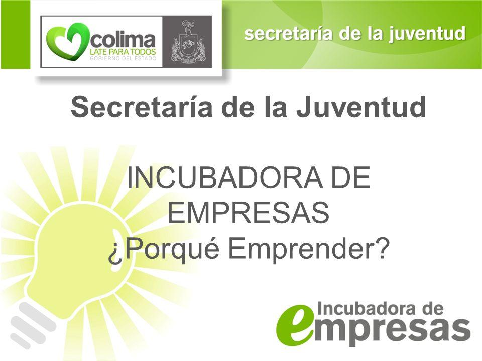 Secretaría de la Juventud INCUBADORA DE EMPRESAS ¿Porqué Emprender?