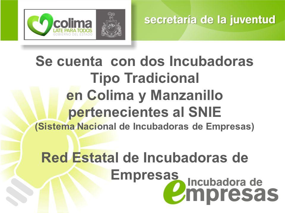 Se cuenta con dos Incubadoras Tipo Tradicional en Colima y Manzanillo pertenecientes al SNIE (Sistema Nacional de Incubadoras de Empresas) Red Estatal