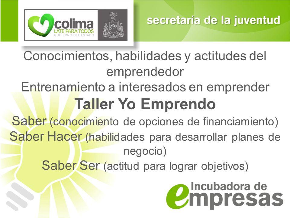 Conocimientos, habilidades y actitudes del emprendedor Entrenamiento a interesados en emprender Taller Yo Emprendo Saber (conocimiento de opciones de