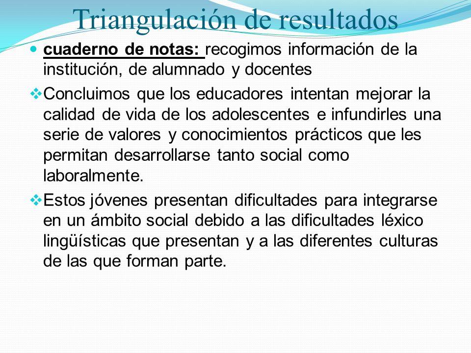 Triangulación de resultados cuaderno de notas: recogimos información de la institución, de alumnado y docentes Concluimos que los educadores intentan