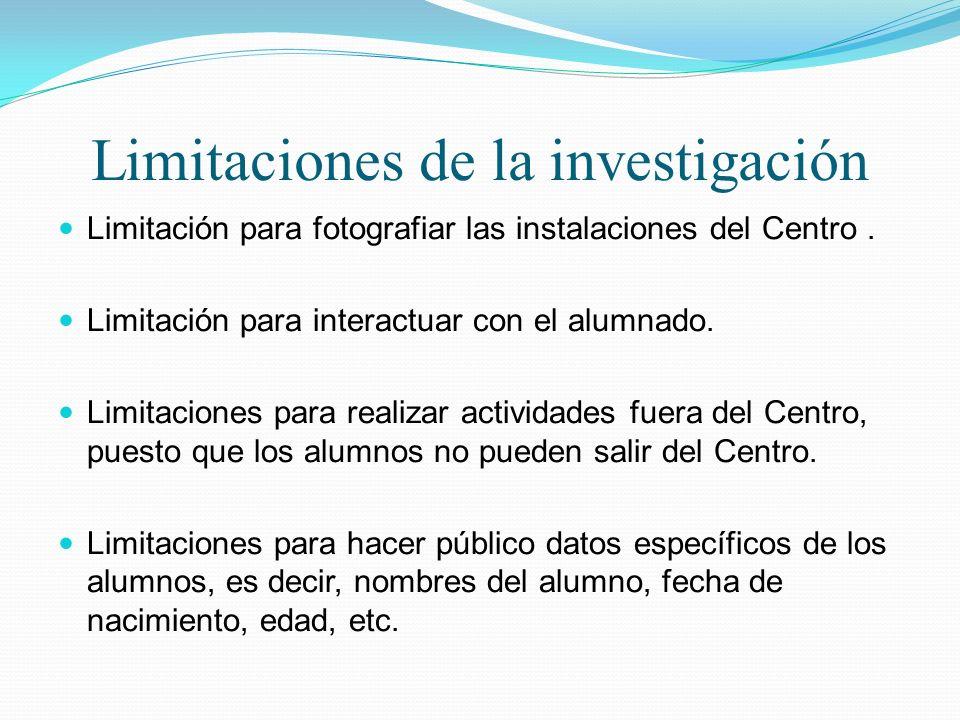 Limitaciones de la investigación Limitación para fotografiar las instalaciones del Centro. Limitación para interactuar con el alumnado. Limitaciones p
