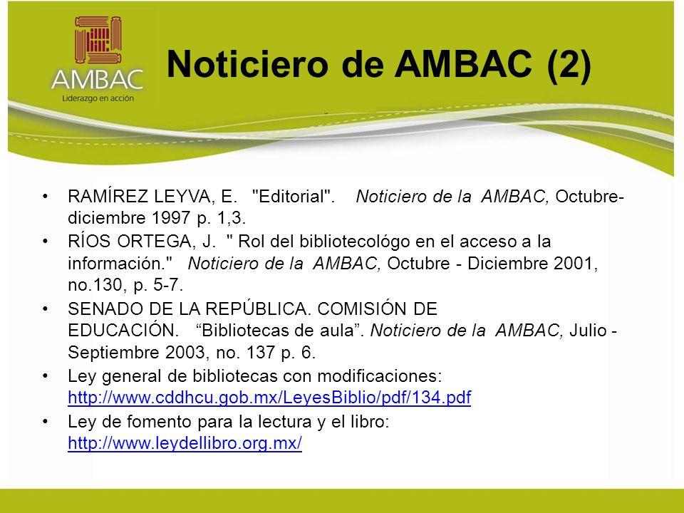 Noticiero de AMBAC (2) RAMÍREZ LEYVA, E.