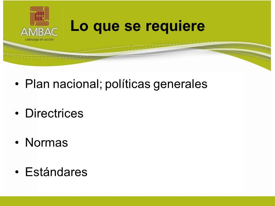 Lo que se requiere Plan nacional; políticas generales Directrices Normas Estándares