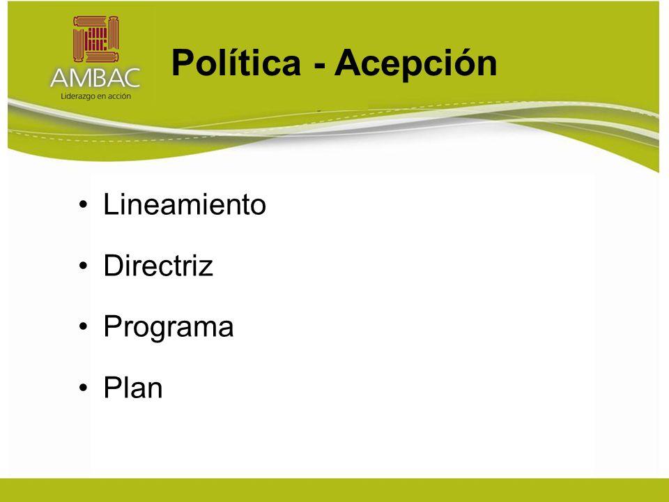 Política - Acepción Lineamiento Directriz Programa Plan