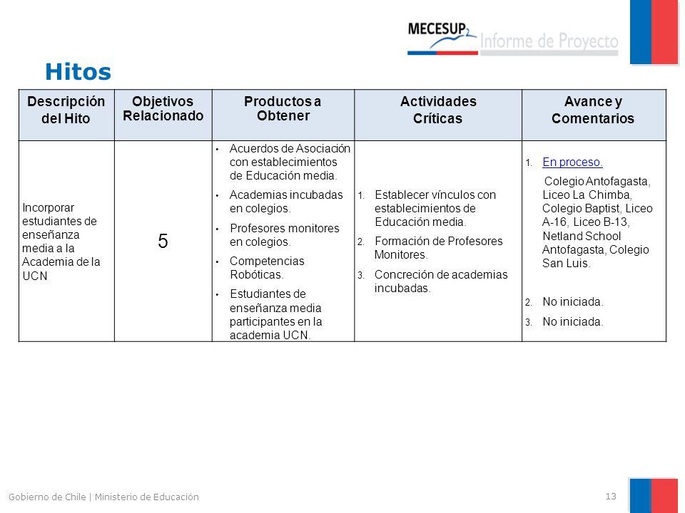 Hitos 13 Gobierno de Chile | Ministerio de Educación Descripción del Hito Objetivos Relacionado Productos a Obtener Actividades Críticas Avance y Come