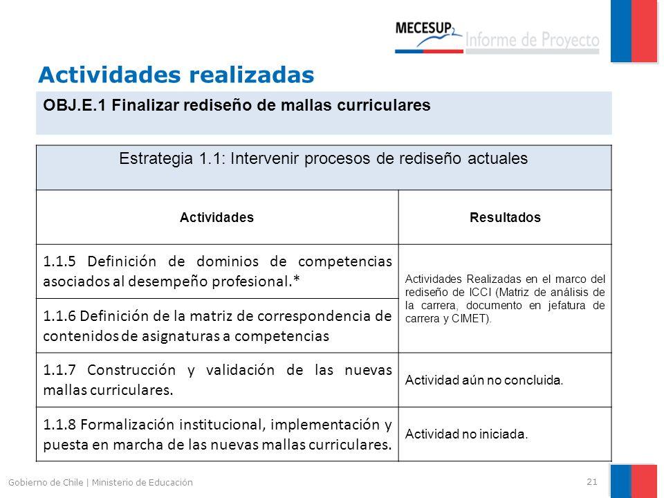 Actividades realizadas 21 Gobierno de Chile | Ministerio de Educación OBJ.E.1 Finalizar rediseño de mallas curriculares Estrategia 1.1: Intervenir pro