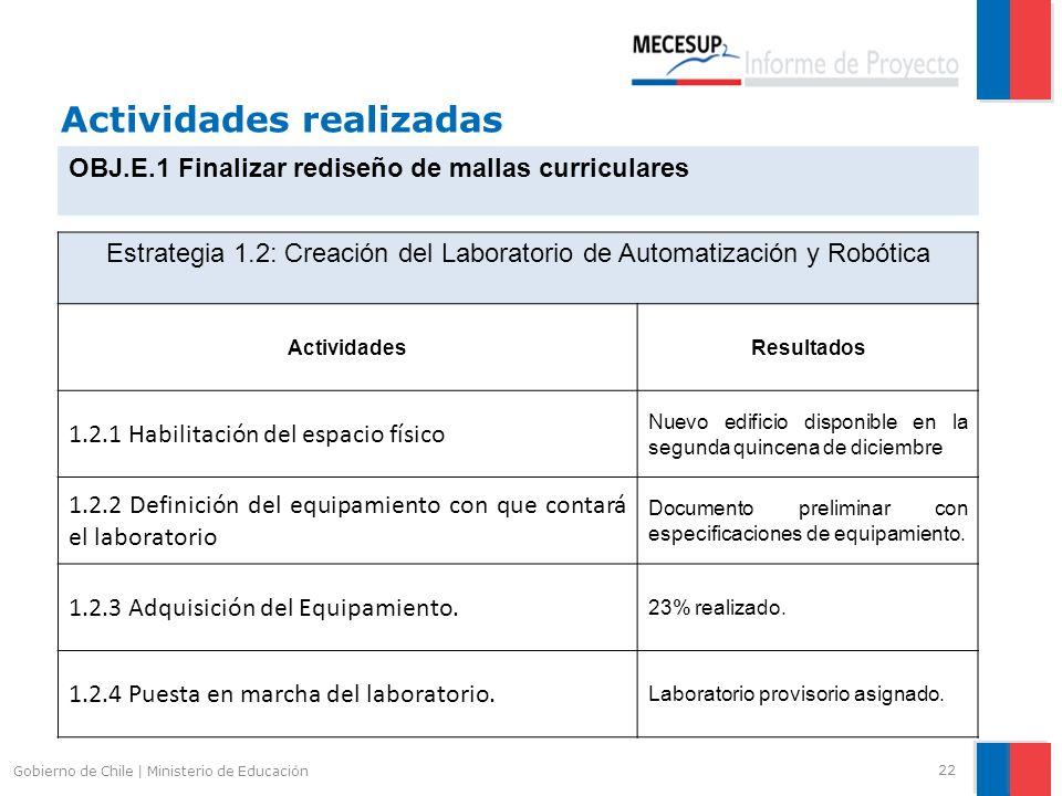 Actividades realizadas 22 Gobierno de Chile | Ministerio de Educación OBJ.E.1 Finalizar rediseño de mallas curriculares Estrategia 1.2: Creación del L