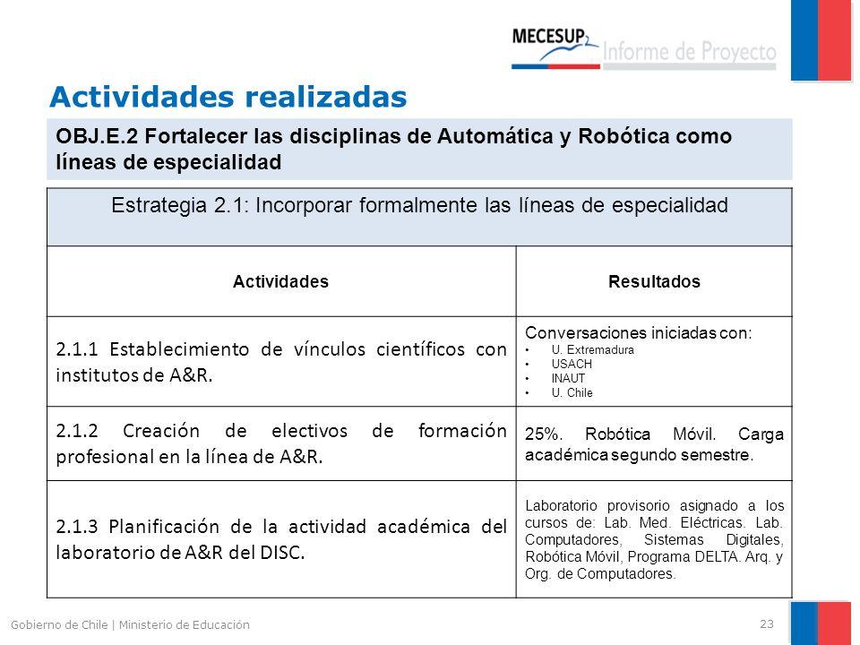 Actividades realizadas 23 Gobierno de Chile | Ministerio de Educación OBJ.E.2 Fortalecer las disciplinas de Automática y Robótica como líneas de espec