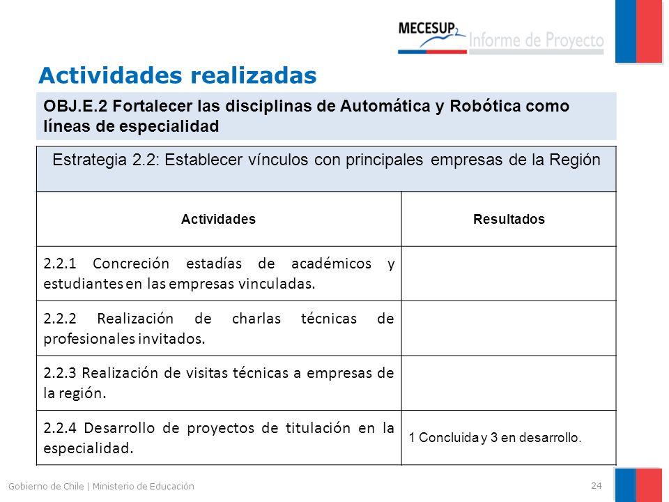 Actividades realizadas 24 Gobierno de Chile | Ministerio de Educación OBJ.E.2 Fortalecer las disciplinas de Automática y Robótica como líneas de espec