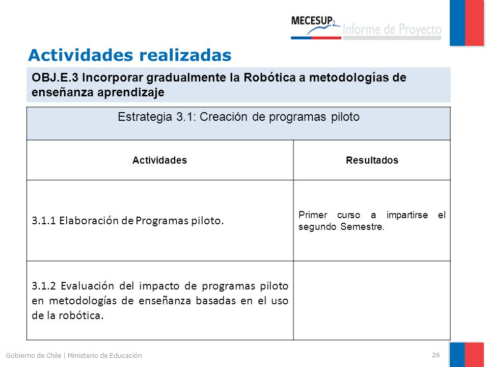 Actividades realizadas 26 Gobierno de Chile | Ministerio de Educación OBJ.E.3 Incorporar gradualmente la Robótica a metodologías de enseñanza aprendiz
