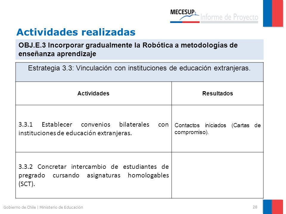 Actividades realizadas 28 Gobierno de Chile | Ministerio de Educación OBJ.E.3 Incorporar gradualmente la Robótica a metodologías de enseñanza aprendiz