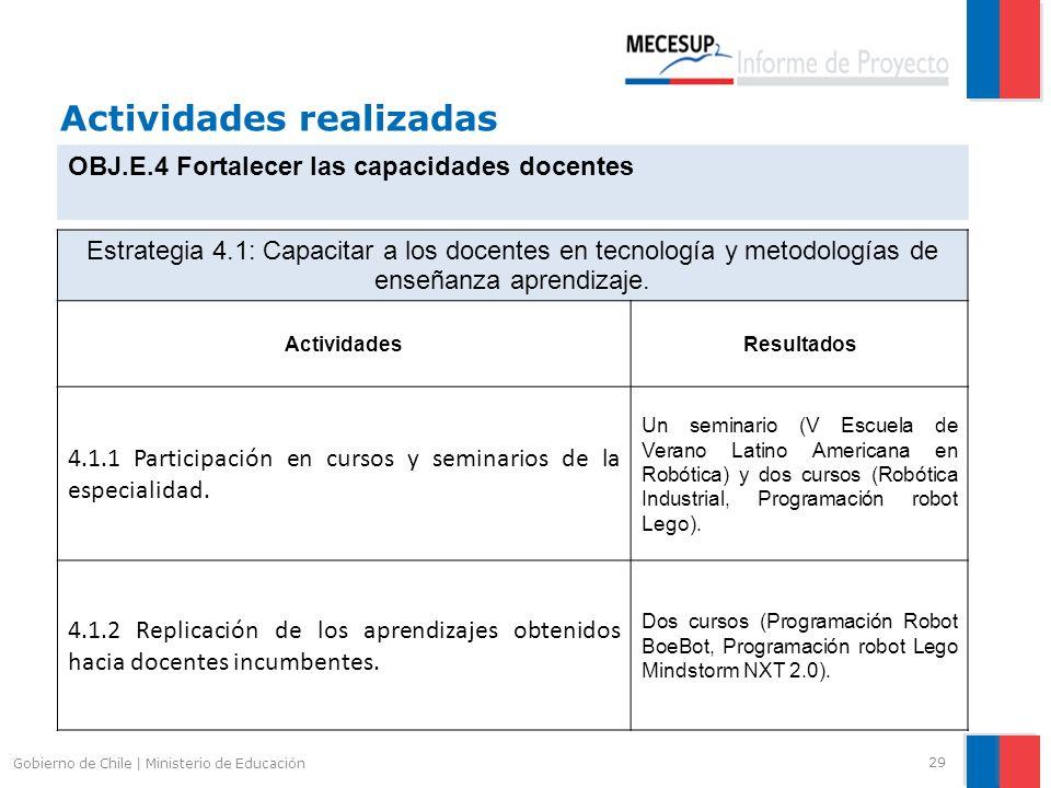 Actividades realizadas 29 Gobierno de Chile | Ministerio de Educación OBJ.E.4 Fortalecer las capacidades docentes Estrategia 4.1: Capacitar a los doce