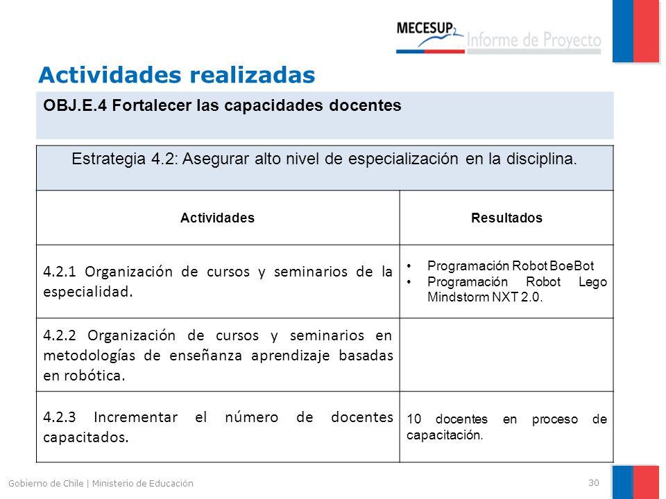 Actividades realizadas 30 Gobierno de Chile | Ministerio de Educación OBJ.E.4 Fortalecer las capacidades docentes Estrategia 4.2: Asegurar alto nivel