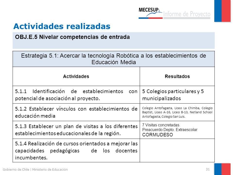 Actividades realizadas 31 Gobierno de Chile | Ministerio de Educación OBJ.E.5 Nivelar competencias de entrada Estrategia 5.1: Acercar la tecnología Ro