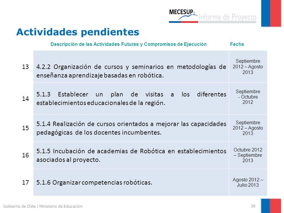 Actividades pendientes 36 Gobierno de Chile | Ministerio de Educación 13 4.2.2 Organización de cursos y seminarios en metodologías de enseñanza aprend