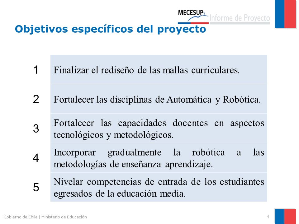 Objetivos específicos del proyecto 4 Gobierno de Chile | Ministerio de Educación 1 Finalizar el rediseño de las mallas curriculares. 2 Fortalecer las