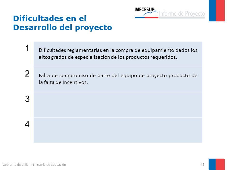 42 Gobierno de Chile | Ministerio de Educación 1 Dificultades reglamentarias en la compra de equipamiento dados los altos grados de especialización de