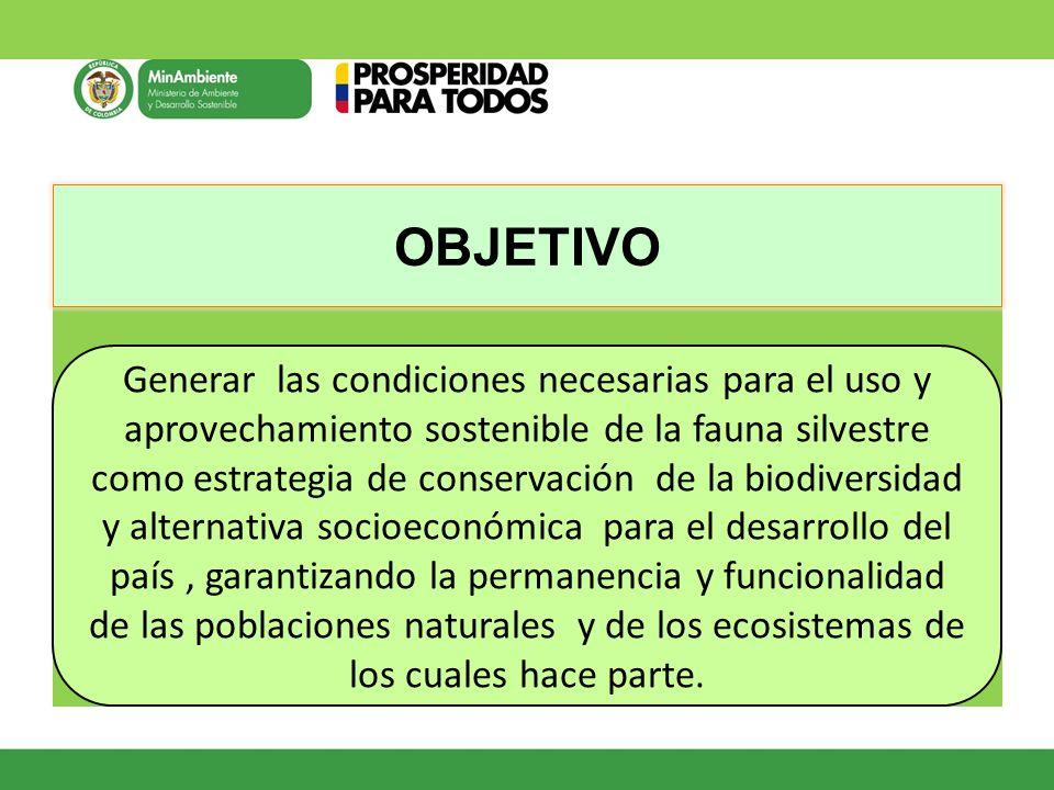 OBJETIVO Generar las condiciones necesarias para el uso y aprovechamiento sostenible de la fauna silvestre como estrategia de conservación de la biodi