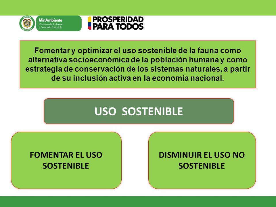 Fomentar y optimizar el uso sostenible de la fauna como alternativa socioeconómica de la población humana y como estrategia de conservación de los sis