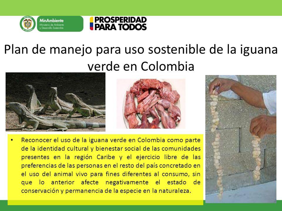 Plan de manejo para uso sostenible de la iguana verde en Colombia Reconocer el uso de la iguana verde en Colombia como parte de la identidad cultural