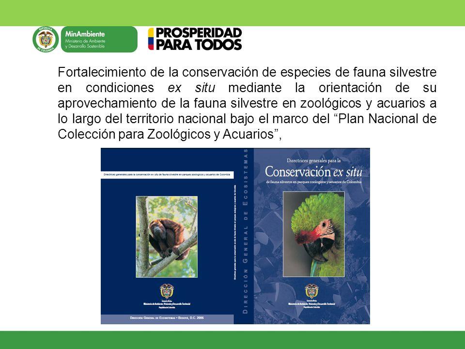 Fortalecimiento de la conservación de especies de fauna silvestre en condiciones ex situ mediante la orientación de su aprovechamiento de la fauna sil