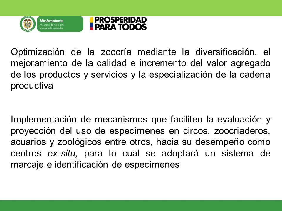 Optimización de la zoocría mediante la diversificación, el mejoramiento de la calidad e incremento del valor agregado de los productos y servicios y l