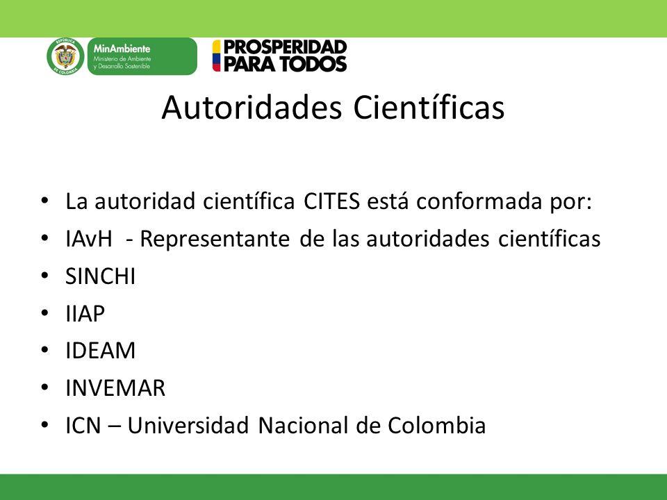 Autoridades Científicas La autoridad científica CITES está conformada por: IAvH - Representante de las autoridades científicas SINCHI IIAP IDEAM INVEM