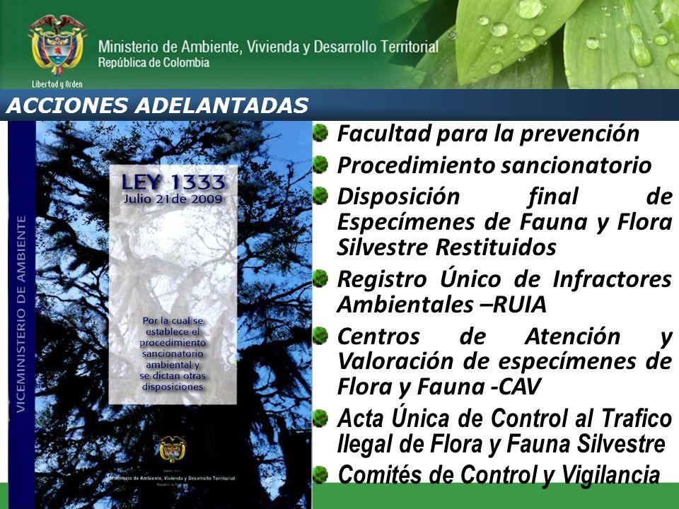 Facultad para la prevención Procedimiento sancionatorio Disposición final de Especímenes de Fauna y Flora Silvestre Restituidos Registro Único de Infr