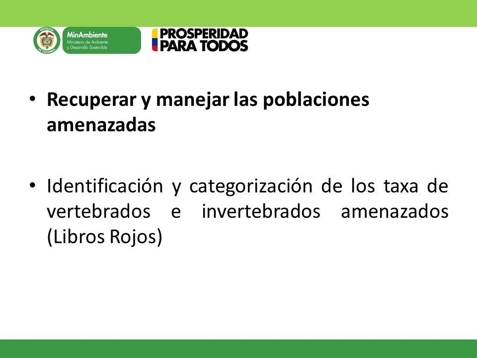 Recuperar y manejar las poblaciones amenazadas Identificación y categorización de los taxa de vertebrados e invertebrados amenazados (Libros Rojos)