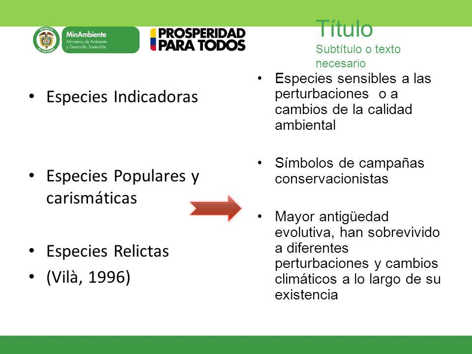 Título Subtítulo o texto necesario Especies Indicadoras Especies Populares y carismáticas Especies Relictas (Vilà, 1996) Especies sensibles a las pert