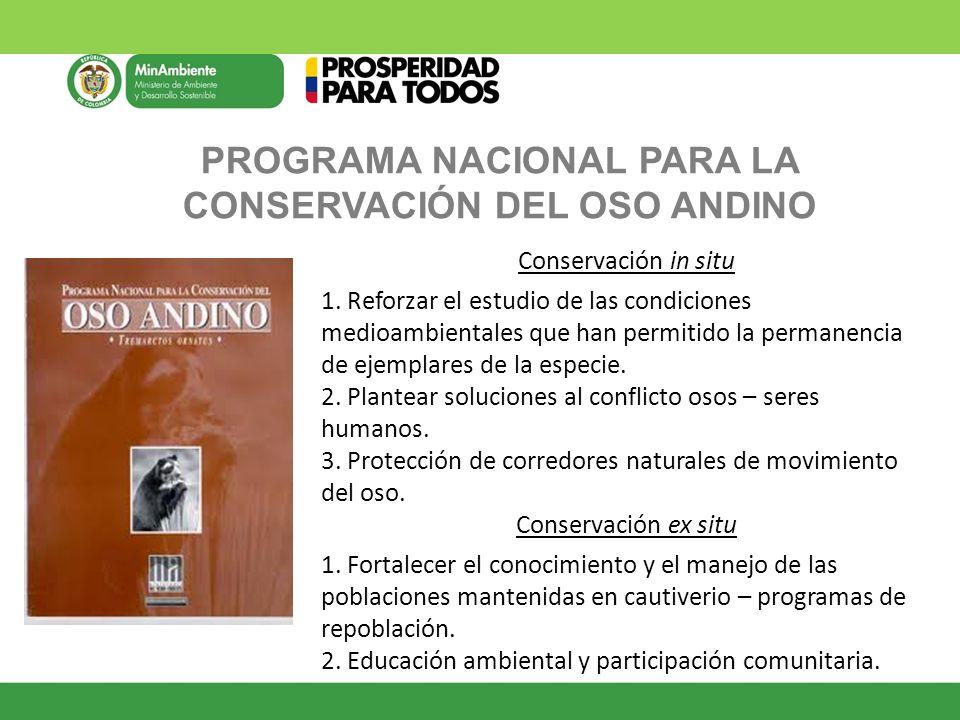 PROGRAMA NACIONAL PARA LA CONSERVACIÓN DEL OSO ANDINO Conservación in situ 1. Reforzar el estudio de las condiciones medioambientales que han permitid
