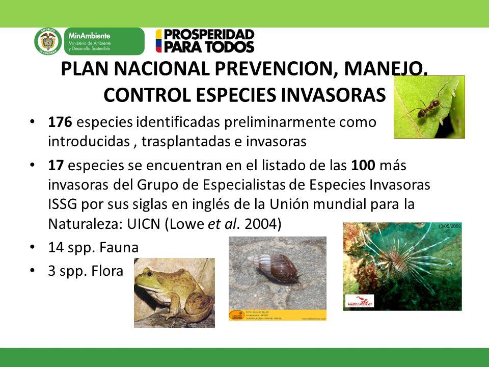 PLAN NACIONAL PREVENCION, MANEJO, CONTROL ESPECIES INVASORAS 176 especies identificadas preliminarmente como introducidas, trasplantadas e invasoras 1