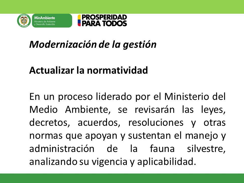 Modernización de la gestión Actualizar la normatividad En un proceso liderado por el Ministerio del Medio Ambiente, se revisarán las leyes, decretos,