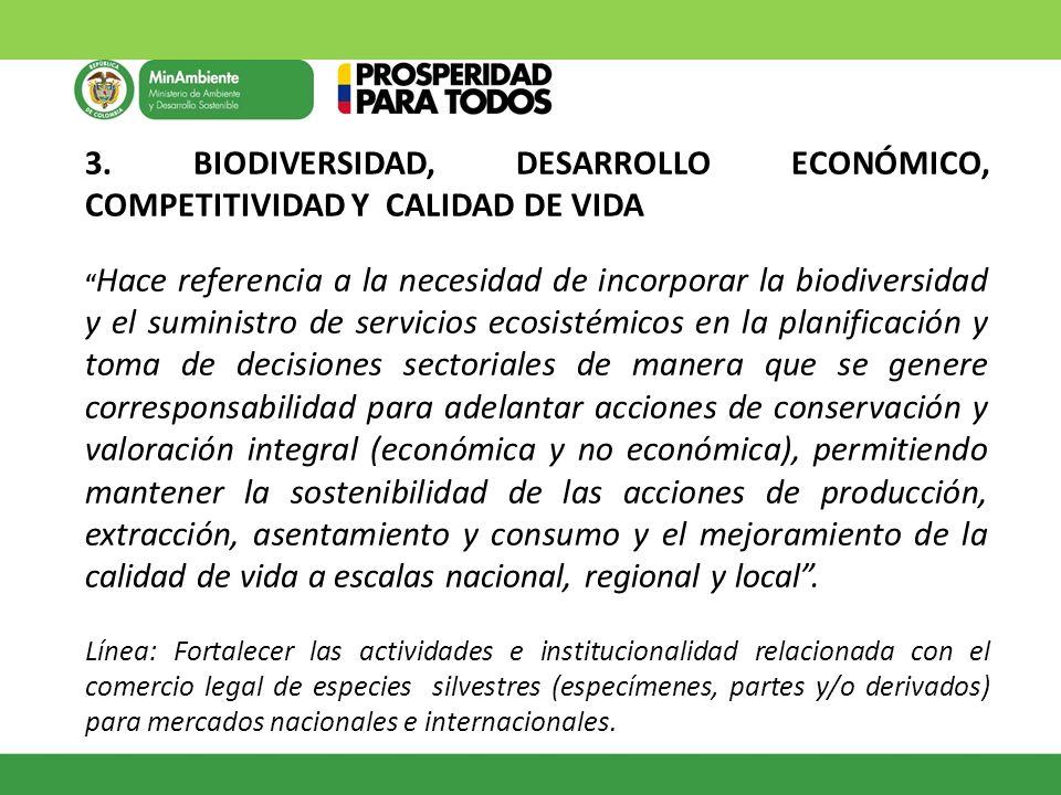 3. BIODIVERSIDAD, DESARROLLO ECONÓMICO, COMPETITIVIDAD Y CALIDAD DE VIDA Hace referencia a la necesidad de incorporar la biodiversidad y el suministro