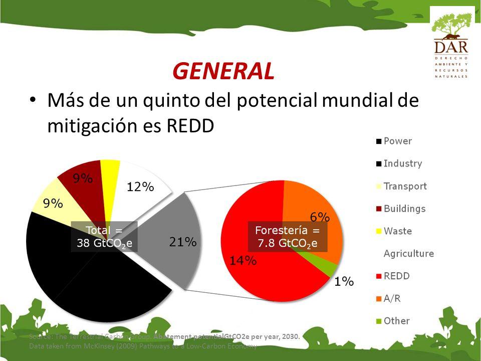 La mitad del potencial de mitigación en países en desarrollo es USCUSS Source: The Terrestrial Carbon Group GENERAL