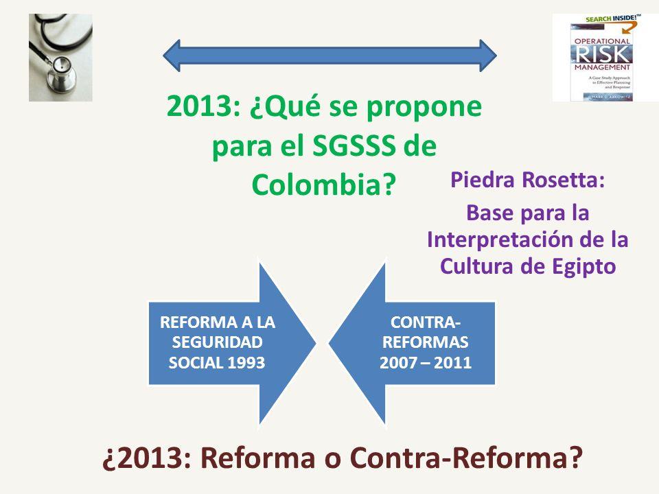 2013: ¿Qué se propone para el SGSSS de Colombia? Piedra Rosetta: Base para la Interpretación de la Cultura de Egipto REFORMA A LA SEGURIDAD SOCIAL 199