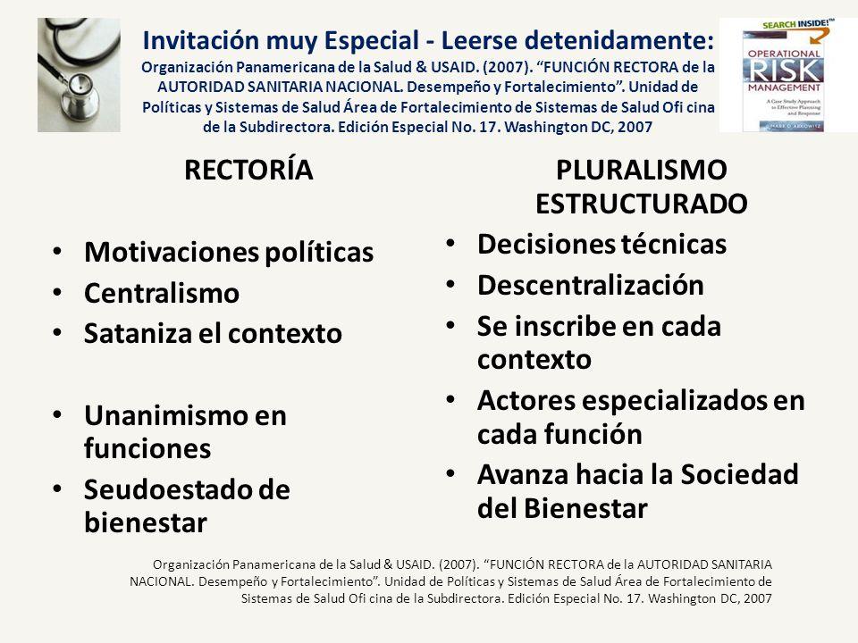 Invitación muy Especial - Leerse detenidamente: Organización Panamericana de la Salud & USAID. (2007). FUNCIÓN RECTORA de la AUTORIDAD SANITARIA NACIO