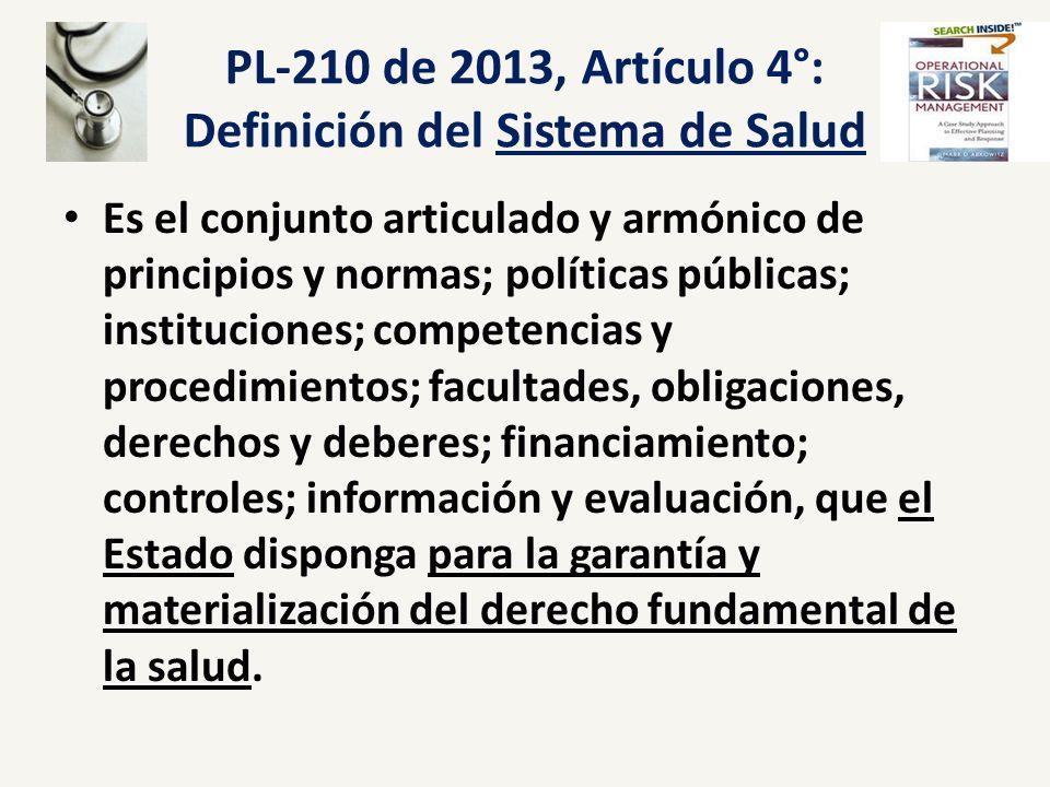 PL-210 de 2013, Artículo 4°: Definición del Sistema de Salud Es el conjunto articulado y armónico de principios y normas; políticas públicas; instituc