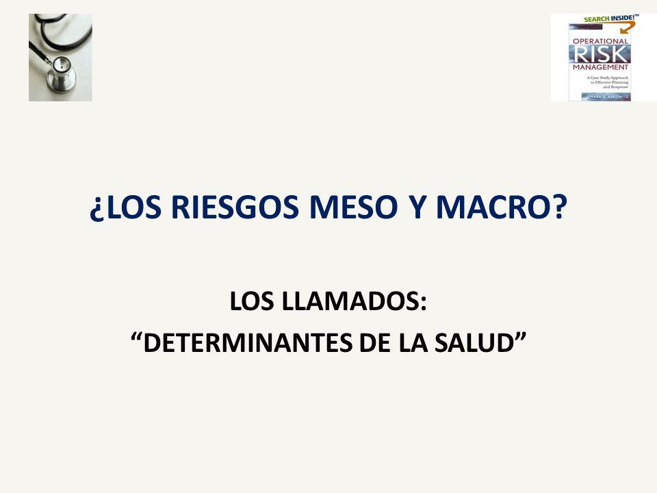 ¿LOS RIESGOS MESO Y MACRO? LOS LLAMADOS: DETERMINANTES DE LA SALUD