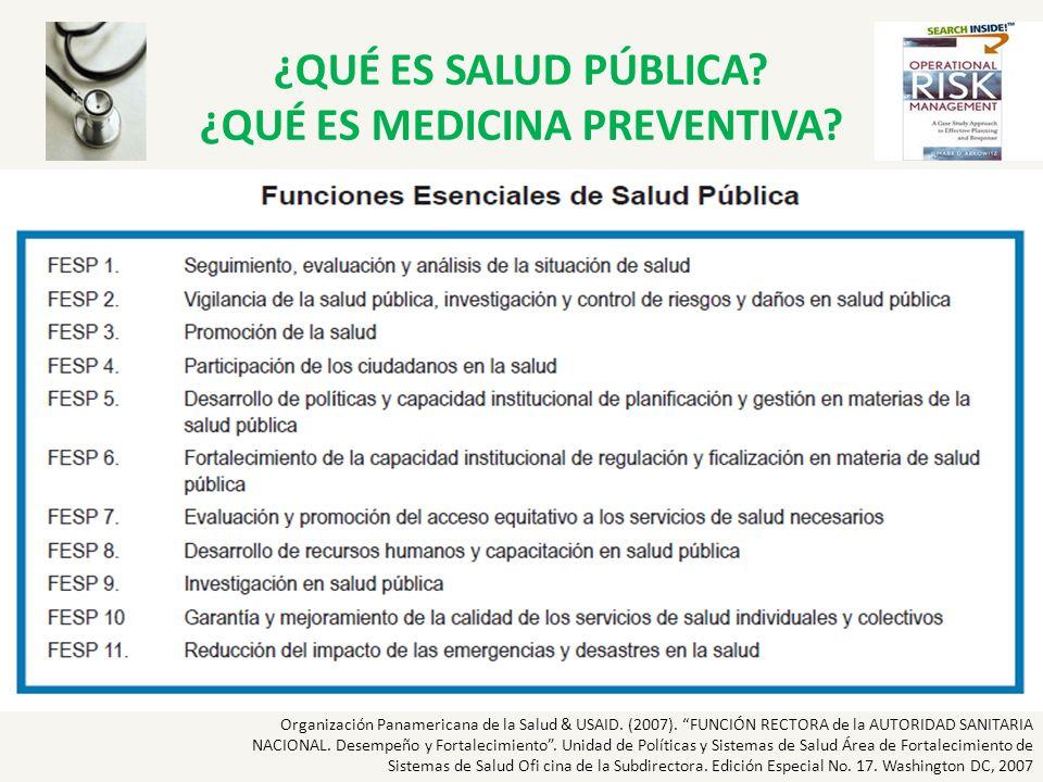 ¿QUÉ ES SALUD PÚBLICA? ¿QUÉ ES MEDICINA PREVENTIVA? Organización Panamericana de la Salud & USAID. (2007). FUNCIÓN RECTORA de la AUTORIDAD SANITARIA N